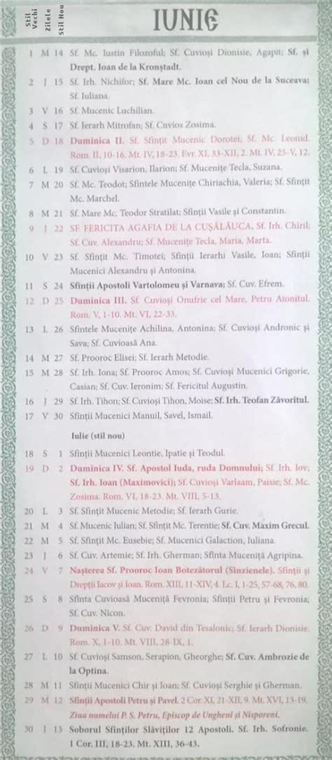 Calendar 2018 Ortodox Calendar Crestin Ortodox 2016 2017 Stil Vechi Republica