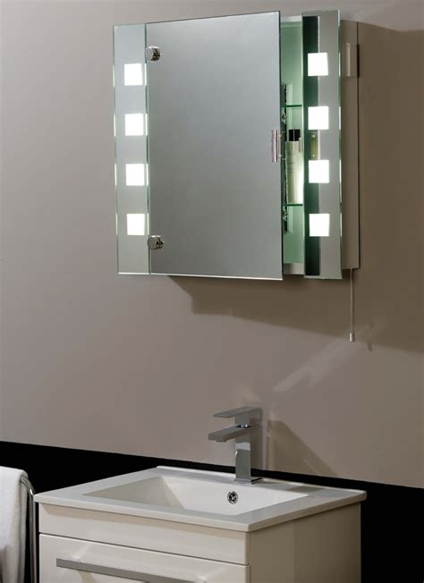 illuminated shaver socket bathroom mirror cabinet el milos