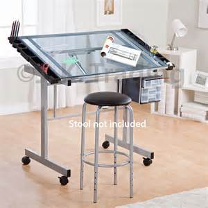 drafting table drawing table adjustable tilt castors glass