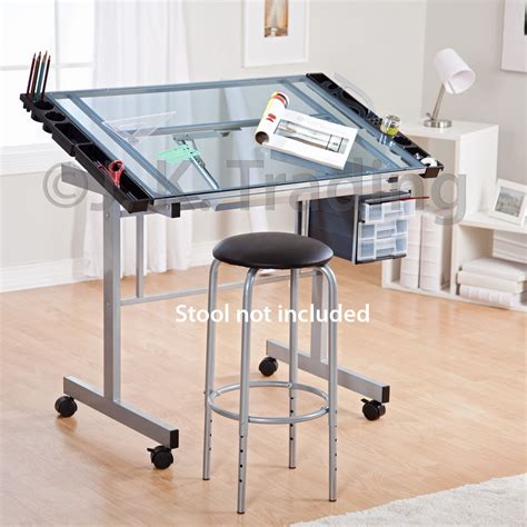 draft table desk drafting table drawing table adjustable tilt castors glass