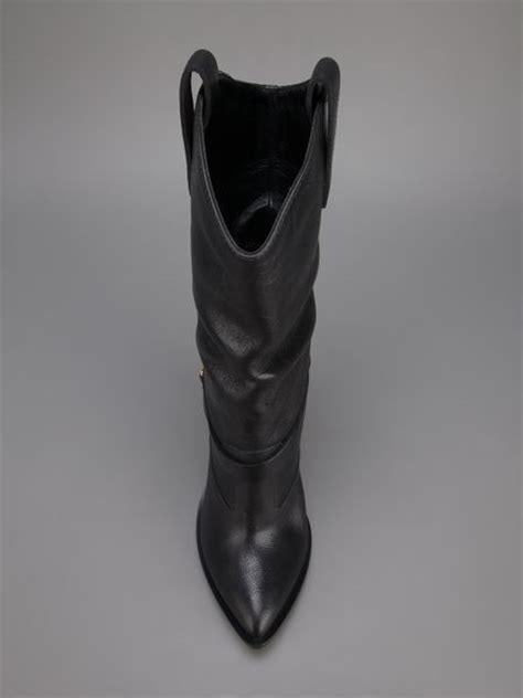 giuseppe zanotti heel spur cowboy boot in black lyst