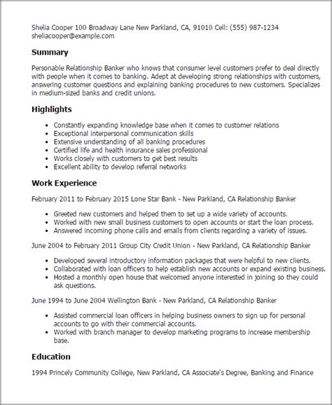 personal banker resume samples summary writing resume sample