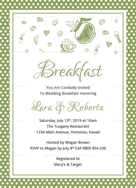 Printable Breakfast Invitation Design Template In Word Psd Publisher Breakfast Invitation Template Free