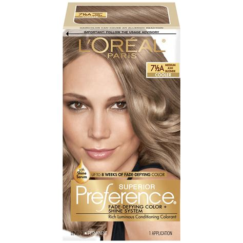 box hair dye colors l oreal 7 1 2a cooler medium ash hair color 1 kt