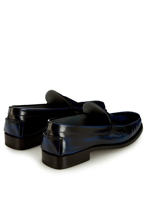 tods loafers tod s spazzolato leather loafers in blue for lyst
