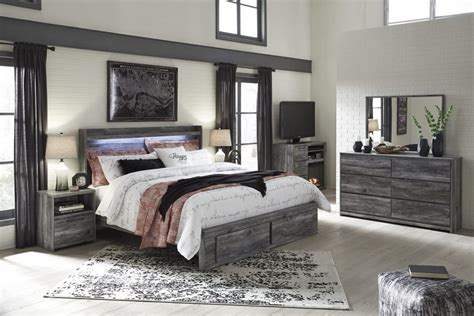 bedroom ashley furniture bedroom sets in gray for porter baystorm 4pc panel with storage bedroom set in gray
