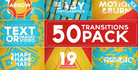 after effects project files 50 transitions pack with