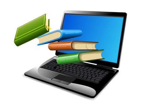 books floating on opened laptop vector download