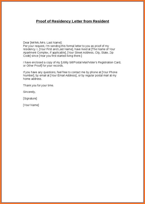 landlord proof of residency letter template proof of residency letter artresume sle