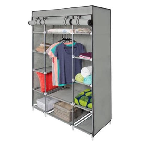 closet shelves walmart 53 quot portable closet storage organizer wardrobe clothes rack with shelves grey walmart