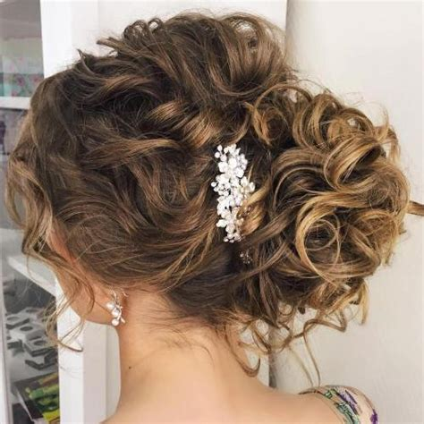 wedding hair bun on the side 20 soft and sweet wedding hairstyles for curly hair 2018