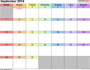 September 2014 Calendar Template by September 2014 Calendars For Word Excel Pdf