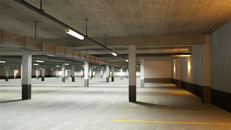 underground parking garage underground parking garage 02 3d model cgstudio