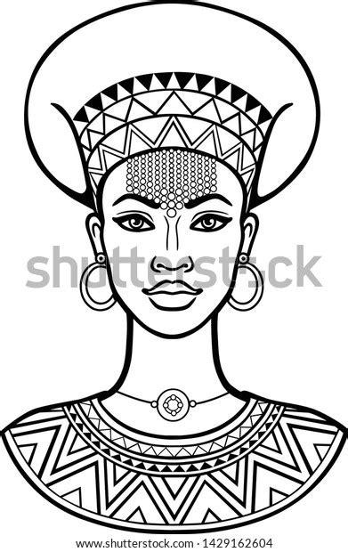 Vetor stock de African Beauty Animation Portrait Beautiful