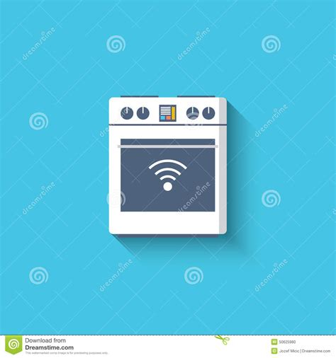 Wifi Cooker by Smart Oven Cooker Stove Icon Smart Kitchen Stock Vector