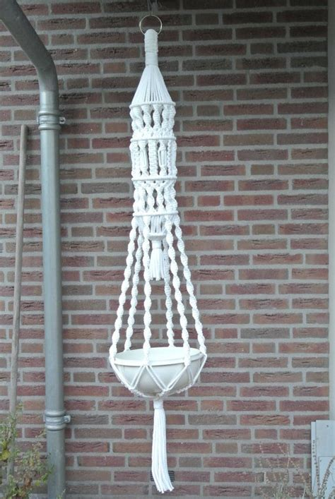 Advanced Macrame - macrame plant hanger white large plant hangers