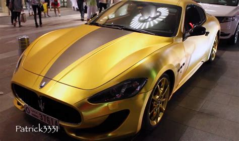 black and gold maserati gold wrapped maserati granturismo spotted in dubai gtspirit
