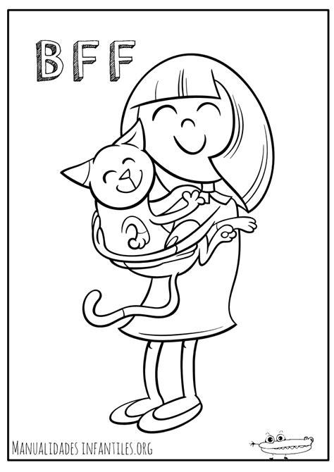 imagenes de amigas juntas para dibujar dibujos de gatos para colorear manualidades infantiles