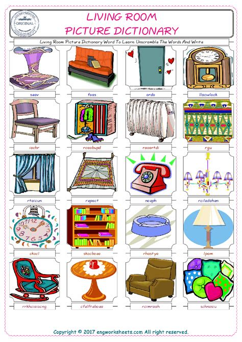 Living Room Picture Dictionary Living Room Picture Dictionary Word To Learn Unscramble