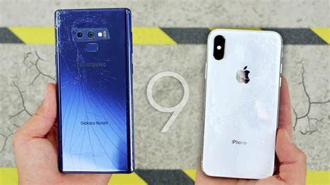 galaxy note 9 vs iphone x drop test durability king