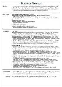 Exle Of Teaching Resume by Teaching Resume Exle Sle Resume