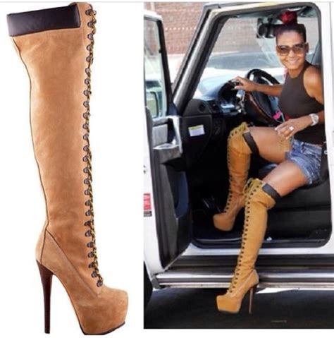 timberland thigh high heel boots shoes thigh high boots timberlands heels shorts crop