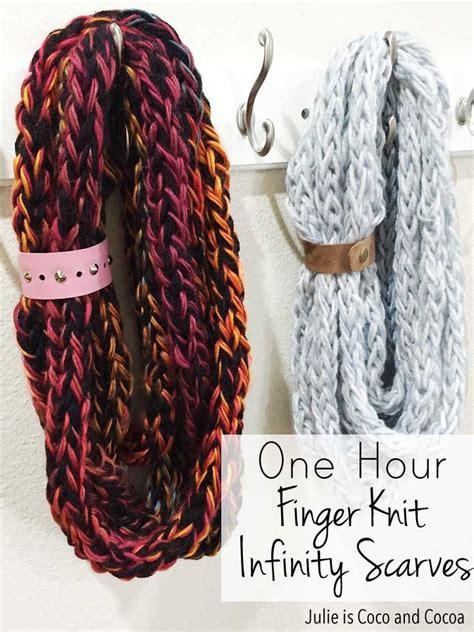 knit finger one hour finger knit infinity scarves julie measures