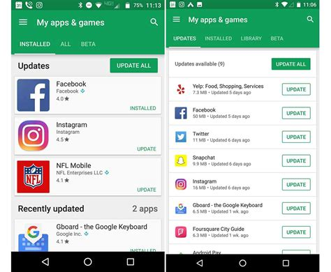 Play Store My Apps Updating Design Of My Apps Section In