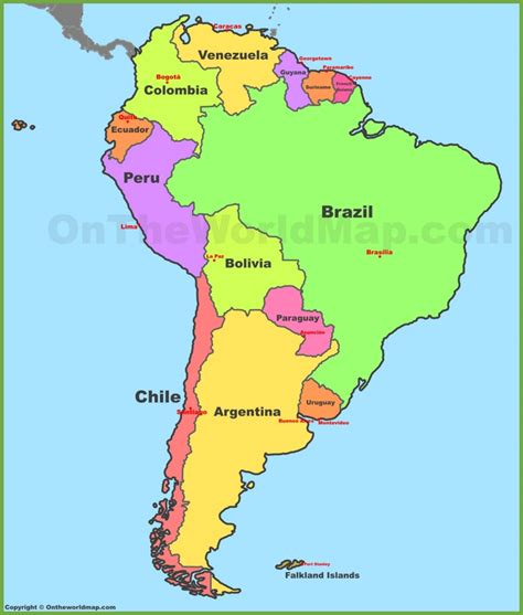 south america map and countries map of south america with countries and capitals