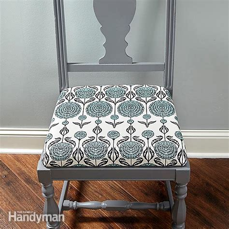 upholstering a chair seat cushion how to reupholster a chair the family handyman