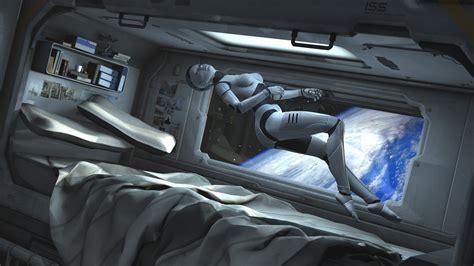 spaceship bed women robot cyborg spaceship cabin space zero