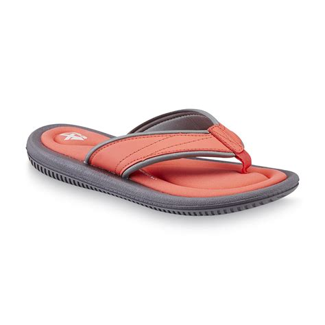 kmart womens sandals athletech s alayna coral gray memory foam flip flop