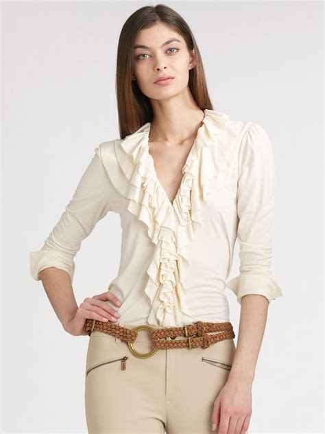 Loeffler Randall Ruffle Collar Blouse by Ralph Blue Label Ruffled Jersey Shirt In