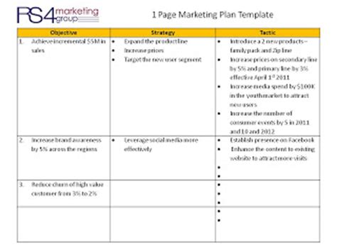 One Page Marketing Plan Rs4 One Page Marketing Plan Template