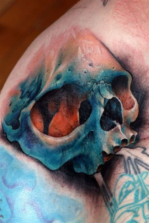 95 amazing skull tattoos images awesome colorful realistic blue skull