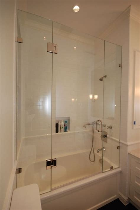 Tub With Glass Shower Door Shower Tub Enclosures Heard Right A Beautiful Frameless Shower Enclosure For Your Bath Tub