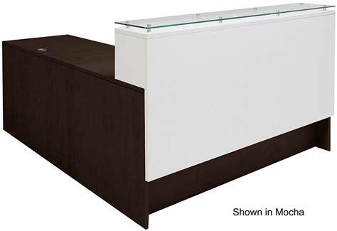 emerge glass top l shaped reception desk w drawers led