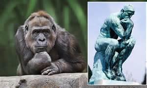 thinking mans gorilla apes famous auguste rodin sculpture pensive simian  cuts