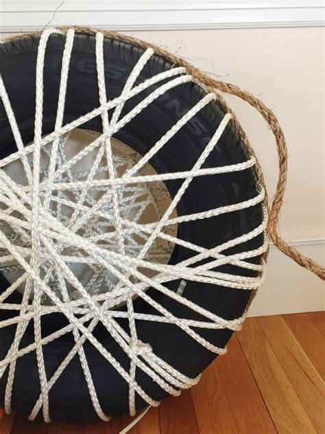 diy   rope ottomans chair   tire  gardens