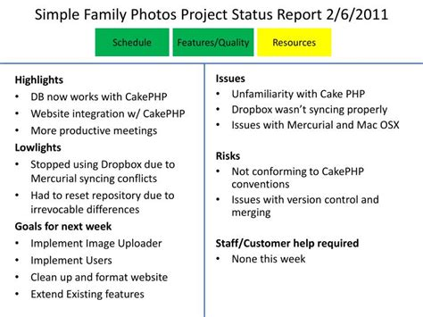 Styling Project Update The Ingredients by Ppt Simple Family Photos Project Status Report 2 6 2011