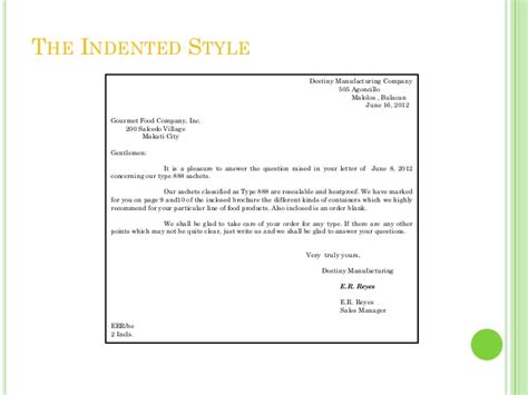 Hanging Indented Style Business Letter Exles business letters