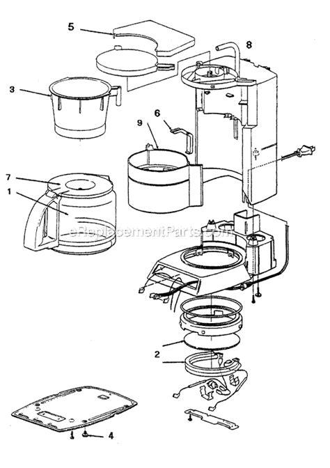 mr coffee parts diagram mr coffee pr16 parts list and diagram ereplacementparts