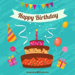 Happy birthday card with cake vector premium download
