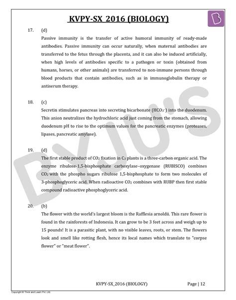 KVPY-SX 2016 Biology Question Paper with Solutions PDF