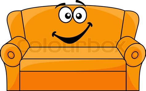 Best Bed Settee Cartoon Upholstered Orange Couch Sofa Or Settee With A