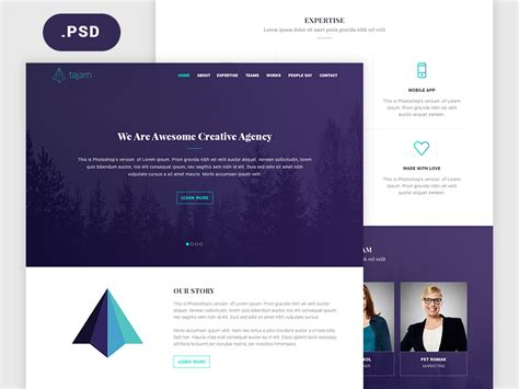 page template psd tajam psd website template for agencies freebiesbug