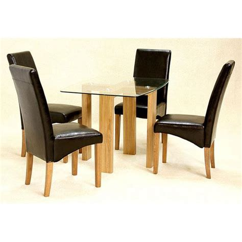 glass dining table with leather chairs homehighlight co uk