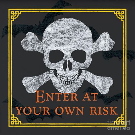 Skull Curtains Enter At Your Own Risk Painting By Debbie Dewitt