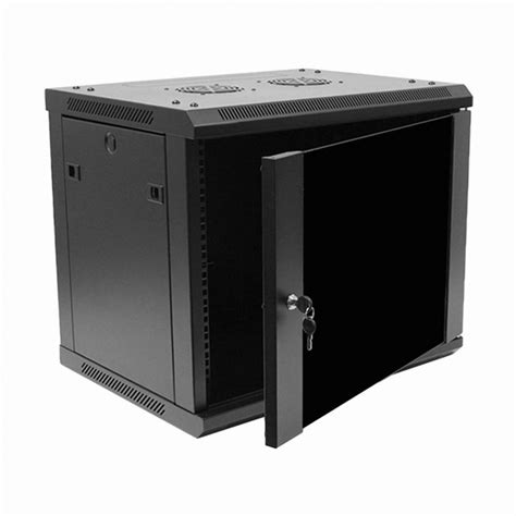 9u it wall mount network server data cabinet rack glass