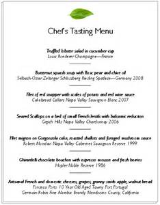 Wine Tasting Menu Template by Tasting Menus